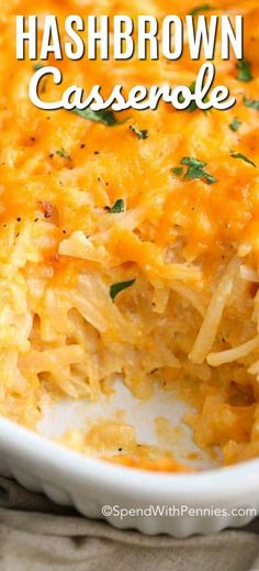 (Improved) Cracker Barrel Hashbrown Casserole - Spend With Pennies Copy Cat Cracker Barrel Hashbrown casserole needs just 5 minutes of prep and is absolutely cheesy, delicious and completely irresistible! The perfect breakfast casserole! Cracker Barrel Hashbrown Casserole, Hashbrown Casserole Recipe, Dinner Casserole Recipes, Hash Brown Casserole, Casserole Dishes, Brunch Recipes, Dinner Recipes, Cracker Barrel Cheesy Potatoes, Brunch Casserole