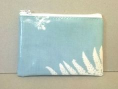 sold - Coin purse in pale blue with fern pattern, Ladies change purse, Oilcloth card wallet, Credit card holder, small zipped pouch, ladies purse by KernowClaire on Etsy