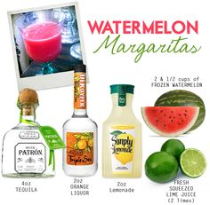 TO MAKE: Cut watermelon into 1 inch cubes and freeze for a couple hours. Then, combine the above ingredients with 1 & 1/2 cups of ice in a blender, blend until smooth, pour in a fancy glass and enjoy. Cheers!