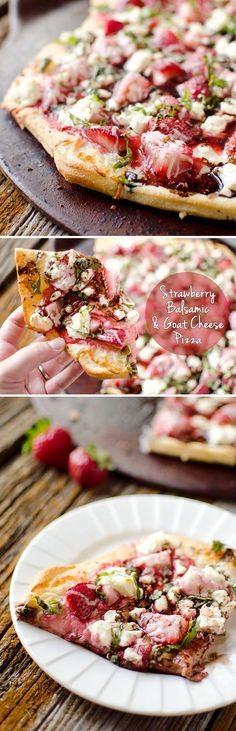 Strawberry Balsamic & Goat Cheese Pizza Strawberry Balsamic & Goat Cheese Pizza – A fresh summer pizza recipe loaded with sweet strawberries and basil, creamy goat cheese and tangy balsamic reduction for a unique and flavorful pizza unlike any other! Flatbread Pizza, Pizza Pizza, Pizza Party, Pizza Flavors, Pizza Recipes, Vegetarian Pizza Recipe, Summer Vegetarian Recipes, I Love Food, Good Food