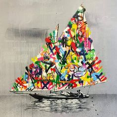 Norwegian born artist Martin Whatson produces stencil art that lashes out at the mundane, interrupting grayscale scenes with explosions of vibrantly painted graffiti. The works often focus on a singular matte subject, one that is seemingly unaware of the bright words and marks that have surrounded t