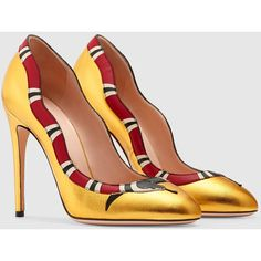 b72285547fb Gucci Metallic Leather Kingsnake Pump ( 735) ❤ liked on Polyvore featuring  shoes