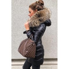 Superwarm black puffer coat from WeLoveFurs. Fur Fashion, Winter Fashion, Fashion Outfits, Womens Fashion, Fashion Trends, Mode Outfits, Casual Outfits, Puffer Coat With Fur, Winter Mode