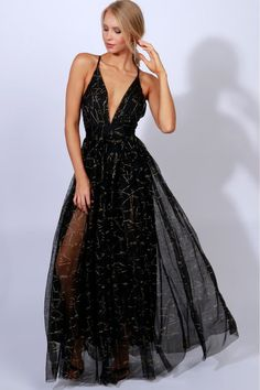 Gown To Party Detailed Maxi Black Gold Black Prom Dresses 806c42a9d172