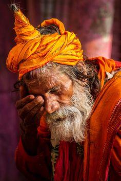 India holy sadhu somewhat tired