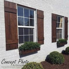 ~Listing is for ONE PAIR = 2 SHUTTERS ! ** Farmhouse Board and batten style Shutters ** ~ A perfect way to add curb appeal to your home! SHUTTER DETAILS:: ~ Custom made to order. ~ Made from rough sawn Red Cedar. ~Pictured shutters are wide and done i Cedar Shutters, Farmhouse Shutters, Farmhouse Windows, Exterior Shutters, Diy Shutters, Rustic Shutters, Outdoor Window Shutters, Houses With Shutters, Cottage Shutters