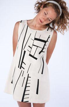 Ann Williamson -- Black and White Dress. Pieced dress from vintage kimono silk.