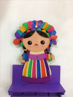 Muñeca María Mexican Birthday, Mexican Party, Halloween Cookies Decorated, Halloween Decorations, Rainbow Images, Felt Books, Angel Crafts, Mexican Designs, T Art