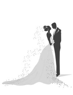 Silhouette Bride And Groom Muted Wedding Cake