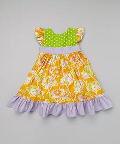 Look at this #zulilyfind! Orange Floral Twirly Dress - Toddler & Girls by Haley and the Hound #zulilyfinds