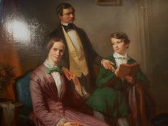 """""""The family reunited"""" #Oil on #canvas dated #1852. Signed by the painter Friedrich #Erhardt. For sale on Proantic by Antiquités Frédéric Sportis."""