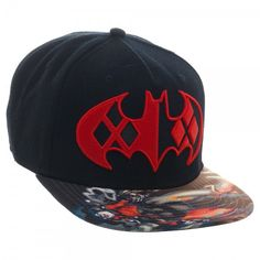DC Comics Harley Quinn Embroid. Patch Logo Baseball Cap Hat Sublimated Flat Brim