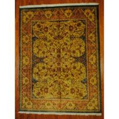 Indo Hand-knotted Mahal Lt. Blue/ Gold Wool Rug (7'10 x 10'2) $953.99