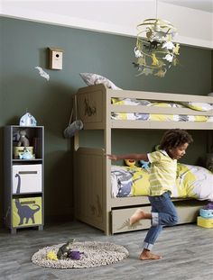 We love the boyish camo colour scheme and the letterbox on the top bunk for sending secret messages.
