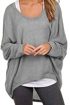 4f3e9ef5e6de4 Yanekop Womens Casual Oversized Baggy Blouse OffShoulder Shirts Pullover  Tops4 Grey L    Want to