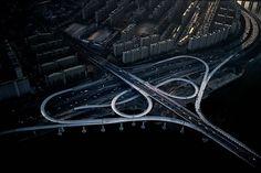 """Motorway interchange on the Han River, Seoul, South Korea"" - photo by Yann Arthus-Bertrand"