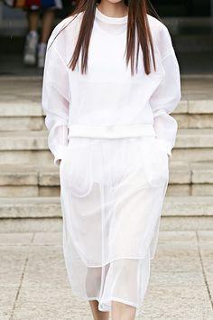 Sheer white sweatshirt & skirt; sporty fashion details // Low Classic SS14