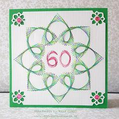 Fadengrafik-Grußkarte für runde Geburtstage / Jubiläen. Dieses Kartenmotiv sticke ich für Sie in Handarbeit individuell nach Farbwunsch und mit der von Ihnen bestellten Zahl in der Mitte - jede...