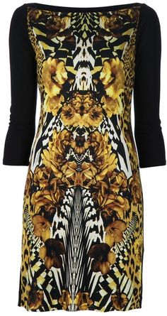 43a7888dfb42 Just Cavalli Gold and brown animal print dress sur ShopStyle. CAVALLI  Printed Dress