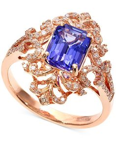 Blueberry Tanzanite (1-1/3 ct. t.w.) and Diamond (1/4 ct. t.w.) Antique Ring in 14k Rose Gold