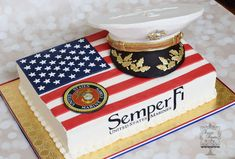 Marine Corp Salute Sheet cake with fondant flag. The cover (hat) was made from cake and covered in modeling chocolate. Edible images were. Military Cake, Military Party, Military Retirement, Military Wedding, Retirement Cakes, Retirement Parties, Fondant Cakes, Cupcake Cakes, Cupcakes