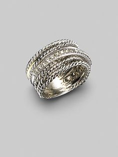 Wouldn't mind seeing this wrapped up for me on my anniversary :)  David Yurman Diamond, 14K White Gold & Sterling Silver Crossover Ring