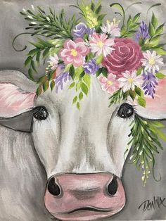 Cow Painting, Painting & Drawing, Cow Drawing, Canvas Painting Tutorials, Painted Rocks Craft, Cow Art, Animal Paintings, Watercolor Art, Art Projects