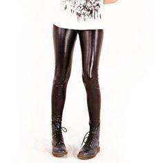 Black Faux Leather Leggings $30.00