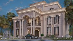 Exterior Villa Elevation on Behance House Arch Design, Architect Design House, Two Story House Design, House Outside Design, Classic House Design, Village House Design, Bungalow House Design, Villa Design, Classic House Exterior
