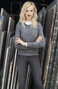jeweled grey business casual