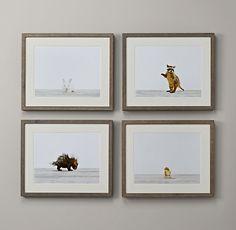 Baby Animal Portraits | 179.00 each | 16x13 ea. | Restoration Hardware Baby & Child | bunny\chick\porcupine\raccoon | item#103414.