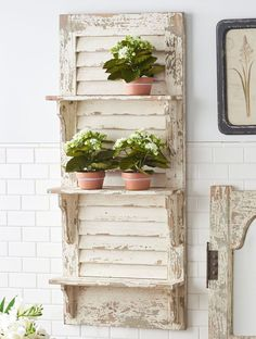 Create a charming focal point on any wall in your home with our Distressed Wood Shutter Wall Shelf. Visit Antique Farmhouse today for more wall shelves! Distressed Shutters, Rustic Shutters, Wood Shutters, Farmhouse Shutters, Repurposed Shutters, Farmhouse Decor, Distressed Wood, Window Shutters, Window Frames