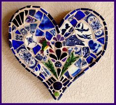 Heart in Flight Pique Assiette Mosaic Heart by Mary Ann