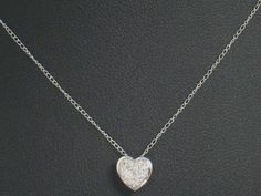 "14K WHITE GOLD SMALL .28"" HEART PENDANT 1/10 CTTW DIAMOND 18"" 14K NECKLACE CHAIN #Pendant"