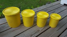 VINTAGE 8pc YELLOW TUPPERWARE Servalier Nesting Canister Set  #Tupperware
