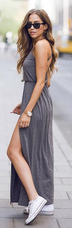 love how this dress is semi casual, like the gray color, can be worn with cute sneakers, like the open back, not too risqué