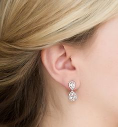 Cubic Zirconia Crystal Teardrop Earrings in Silver or Rose Gold -- Visit the image link for more details. Small Gold Hoop Earrings, Bar Stud Earrings, Rose Gold Earrings, Teardrop Earrings, Crystal Earrings, Diamond Earrings, Wire Earrings, Bridal Earrings, Pearl Necklace