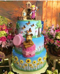 1st Birthday Party For Girls, 4th Birthday, Birthday Cake, Masha Cake, Winnie The Pooh Cake, Masha And The Bear, Bear Cookies, Fake Cake, Bear Theme