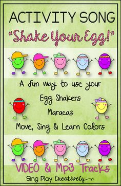 """Move and groove with this fun """"Shake Your Egg"""" Brain Break, Egg Shaker Activity Song that also teaches Colors. Perfect for Pre K-2nd grade. Use Instruments or plastic eggs during the activity and students will love it! Video for easy teaching. https://www.teacherspayteachers.com/Product/ACTIVITY-SONG-Shake-Your-Egg-for-Easter-Spring-Movement-with-Video-1175762"""
