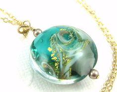 Ocean necklace, Ocean wave necklace, Beach jewelry gift, Sea Green Gold Murano Glass Pendant, Venetian Glass Necklace,Nautical pendant