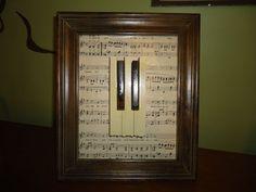 recycled piano ideas | Recycled Piano Key Framed Art by martahansen on Etsy, $30.00