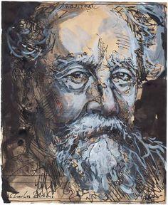 """Charles Dickens"" 21 x 17 cm Federzeichnung, Aquarell, Farbstift 2017"