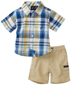 71f4f4ed3 Nautica Sportswear Kids Baby Boys' Short Sleeve Plaid Woven Shirt with Solid  Short, Light Aqua, 6/12
