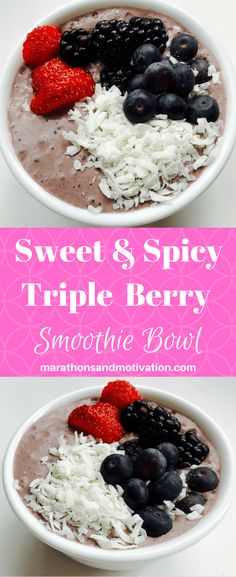 Smoothie Bowls are an easy way to enjoy a nutrient dense snack or meal. This Sweet & Spicy Triple Berry Smoothie Bowl is perfect for Breakfast or Lunch!.