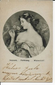 Antique Hungarian art graphical postcard, lady, Innocent, M'aime-t-il? Vintage Beauty, Vintage Art, Vintage Ladies, Borzoi Dog, Innocent Girl, Lady, Things To Sell, Antiques, Antiquities