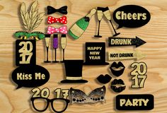 Here are more than 20 adorable andFree Printable New Year 2017 Photo Booth Props that you can print for your new year party. These props are perfect for teen's new year party and adults new year's party. These cute props have a color scheme of black and gold glitter. The glitter won't print as metallic but it will look super awesome in photographs. You just need to print these props, cut around the edges and stick on canes or sticks.[Read more]