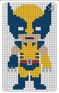 Embroidery Bracelets Patterns Wolverine X-Men perler bead pattern Hama Beads Design, Hama Beads Patterns, Loom Patterns, Beading Patterns, Cross Stitch Patterns, Jewelry Patterns, Pixel Pattern, Pattern Art, Perler Bead Art