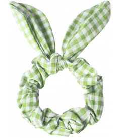 Lime gingham hair band with bunny ear detail.