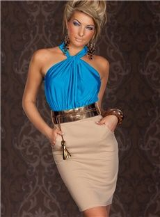 Dizzying Blue Ruched Halterneck Cocktail Fashion Dress