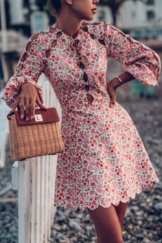 Obsessed with this Zimmermann floral dress with long sleeves and cut outs! Easy to style too - paired it with a wicker tote for a vacation vibe while in Nice France Dressy Outfits, Summer Outfits, Cute Outfits, Fashion Outfits, Fashion Trends, Ootd Fashion, Fall Dresses, Summer Dresses, Floral Dresses